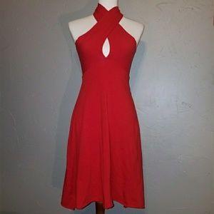 American Apparel red convertible halter dress sz S